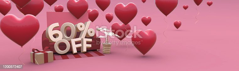istock 60 Sixty percent off - Valentines Day Sale horizontal 3D-banner with copy space. 1200572407