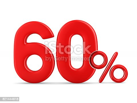 istock Sixty percent on white background. Isolated 3D illustration 821444618