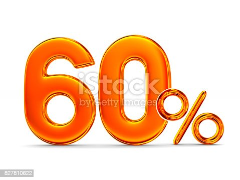 istock Sixty percent on white background. Isolated 3D illustration 827810622