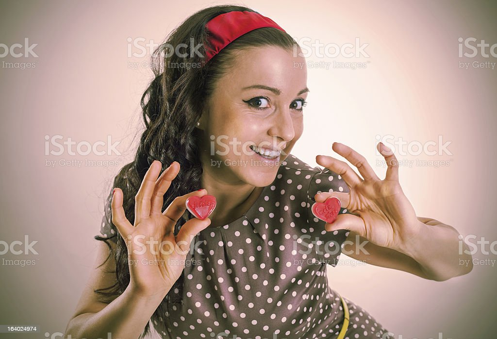 Sixty retro girl with two red hearts royalty-free stock photo