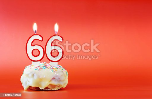 Sixty six years birthday. Cupcake with white burning candle in the form of number 66. Vivid red background with copy space