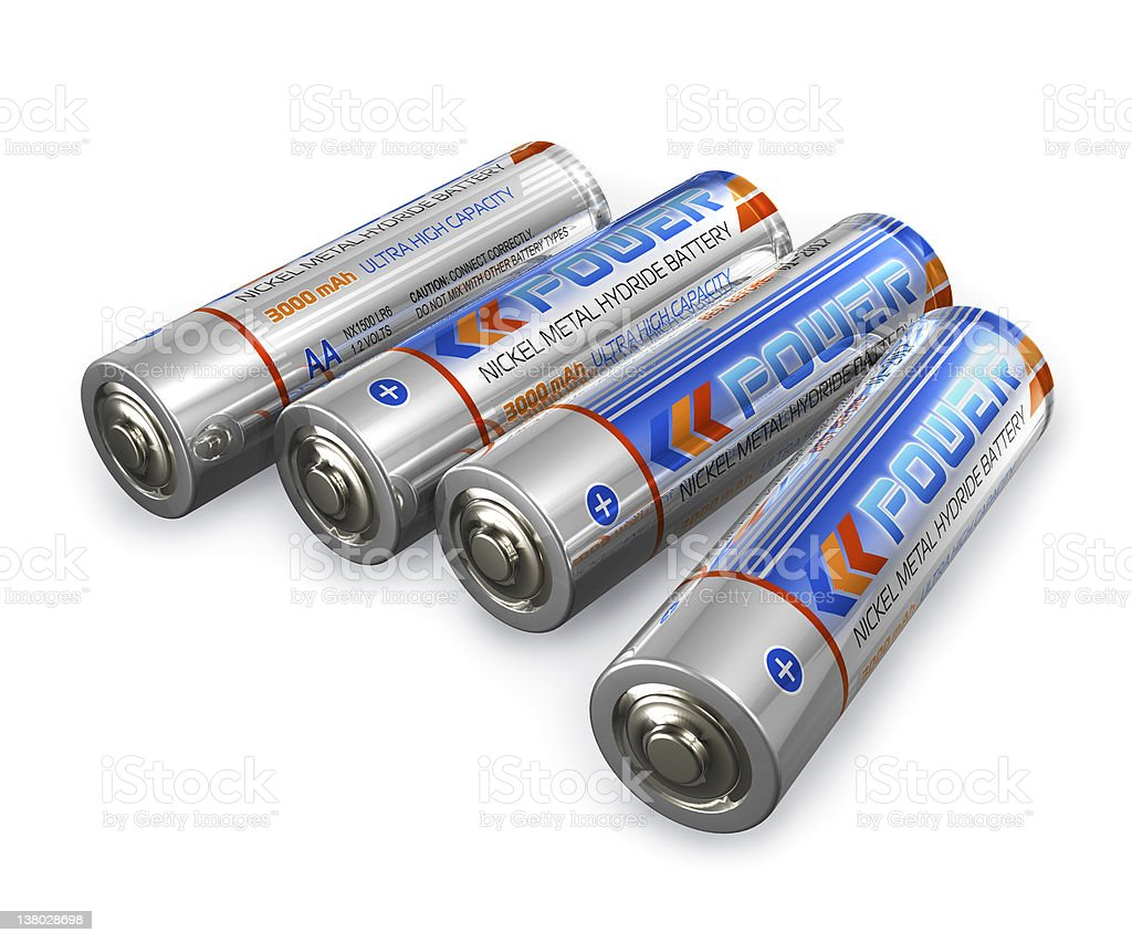 AA size batteries stock photo
