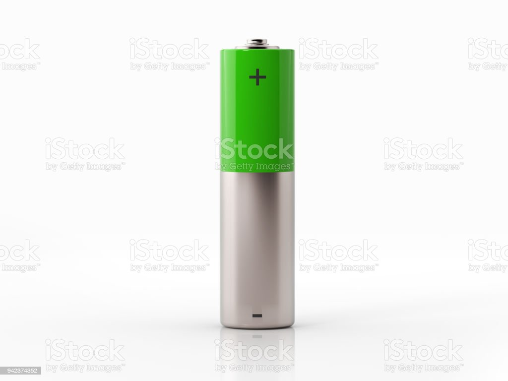 AA Size Green Battery On White Background stock photo