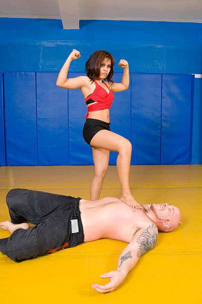 size matters - wrestling stock photos and pictures