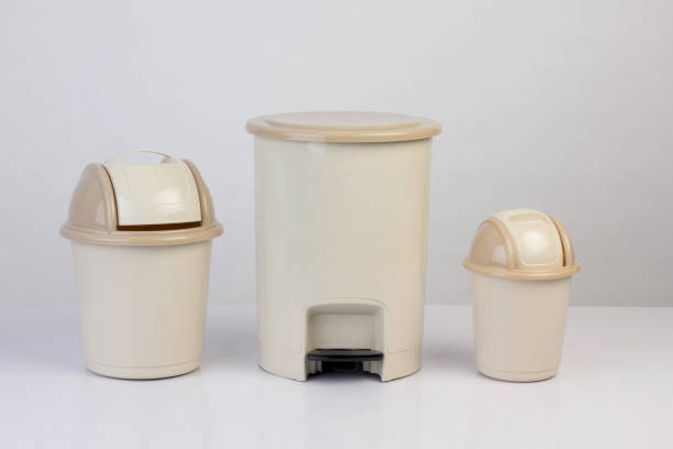3 size of trash bins isolated stock photo