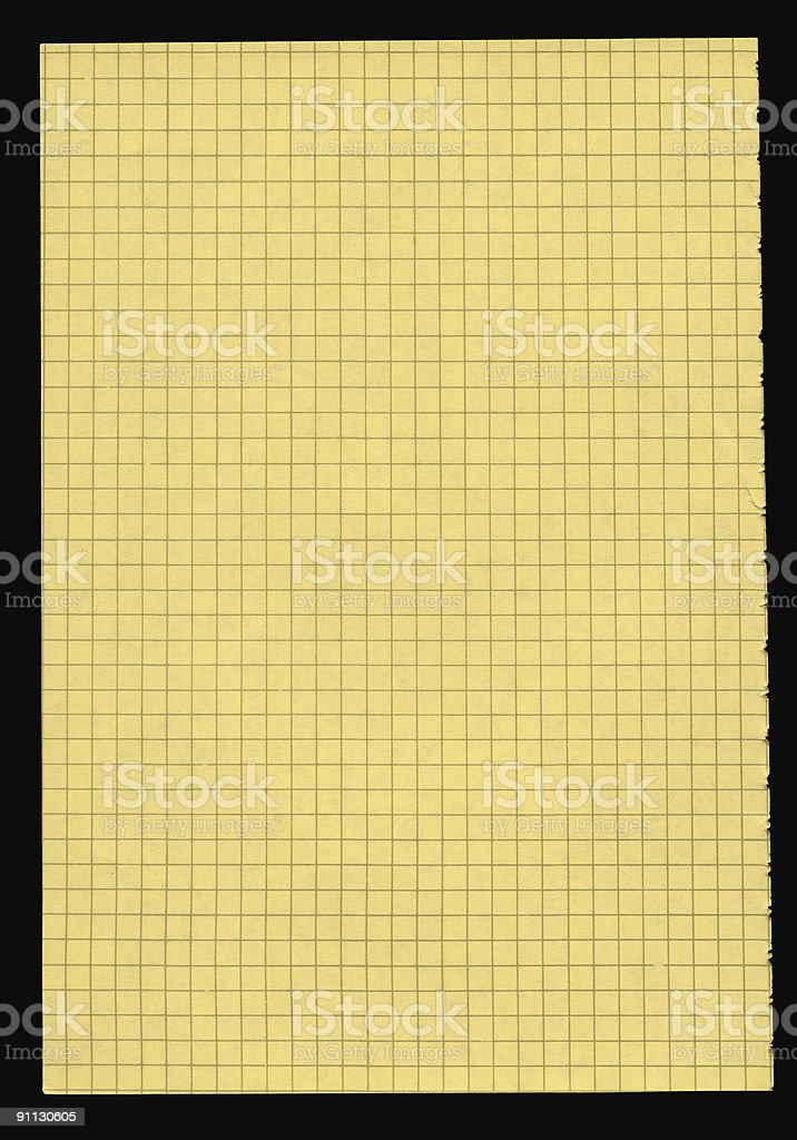 XXL size piece of yellow squared paper royalty-free stock photo