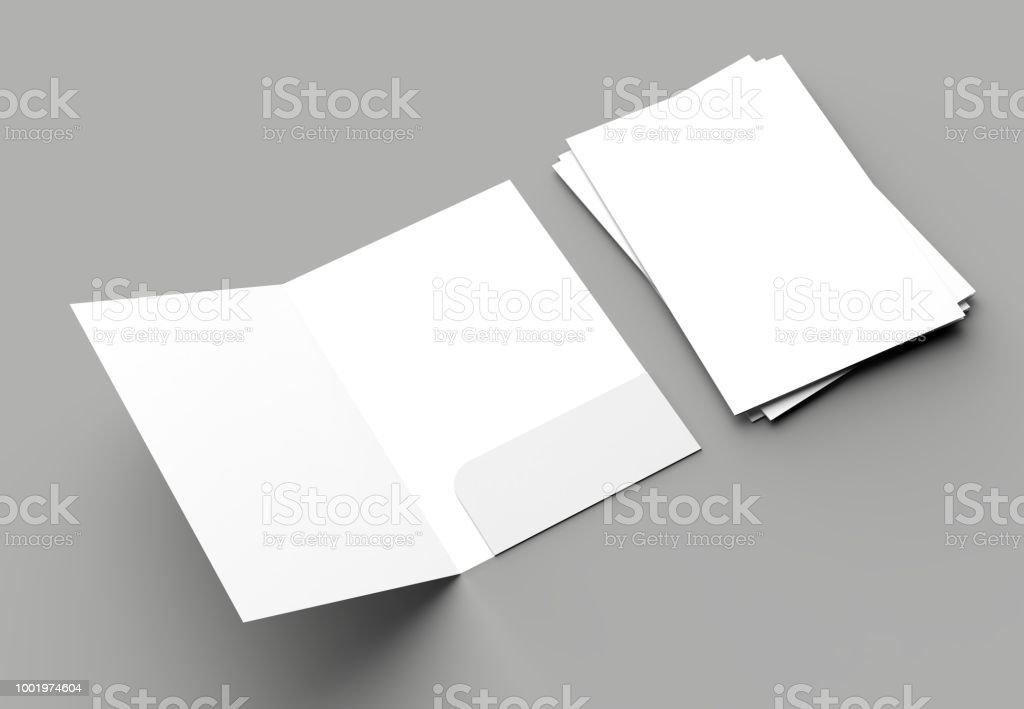 A4 size single pocket reinforced folder mock up isolated on gray background. 3D illustration. stock photo