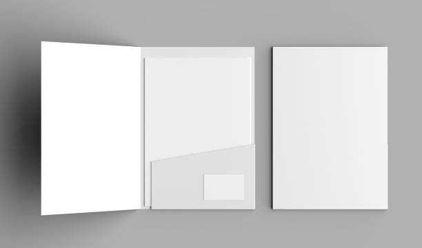 a4 size single pocket reinforced folder with business card mock up isolated on gray background. 3d illustration - file stock pictures, royalty-free photos & images