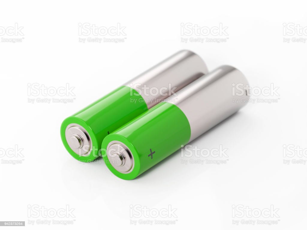 AA Size Two Green Batteries On White Background stock photo