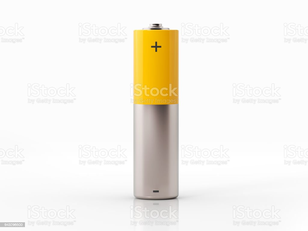 AA Size Yellow Battery On White Background stock photo