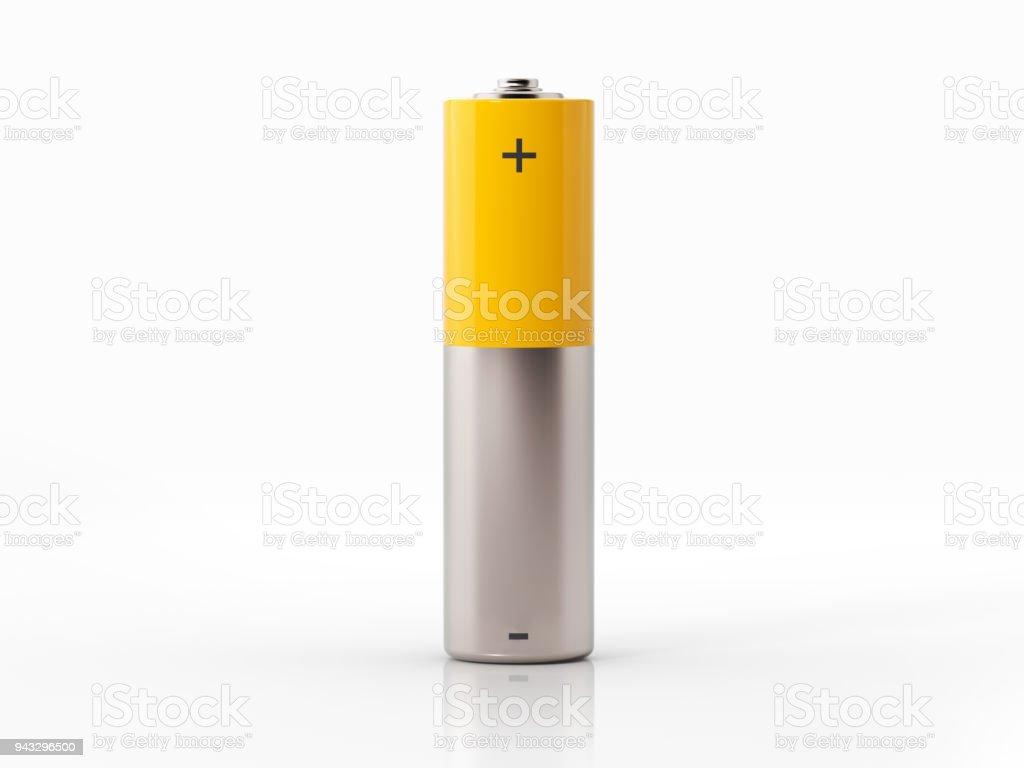 AA formaat gele batterij op witte achtergrond foto