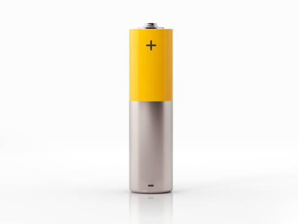 AA Size Yellow Battery On White Background AA size yellow and silver colored battery on white background. Horizontal composition with copy space. minus sign stock pictures, royalty-free photos & images