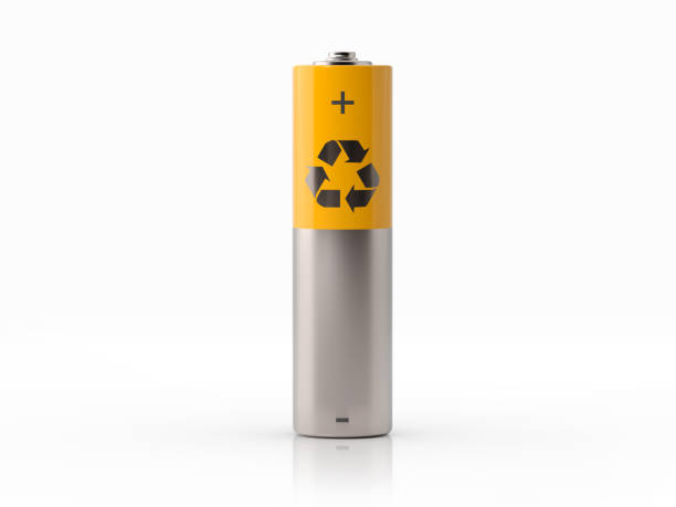 AA Size Yellow Rechargeable Battery On White Background AA size yellow and silver colored battery with a recycle symbol on white background. Horizontal composition with copy space. minus sign stock pictures, royalty-free photos & images