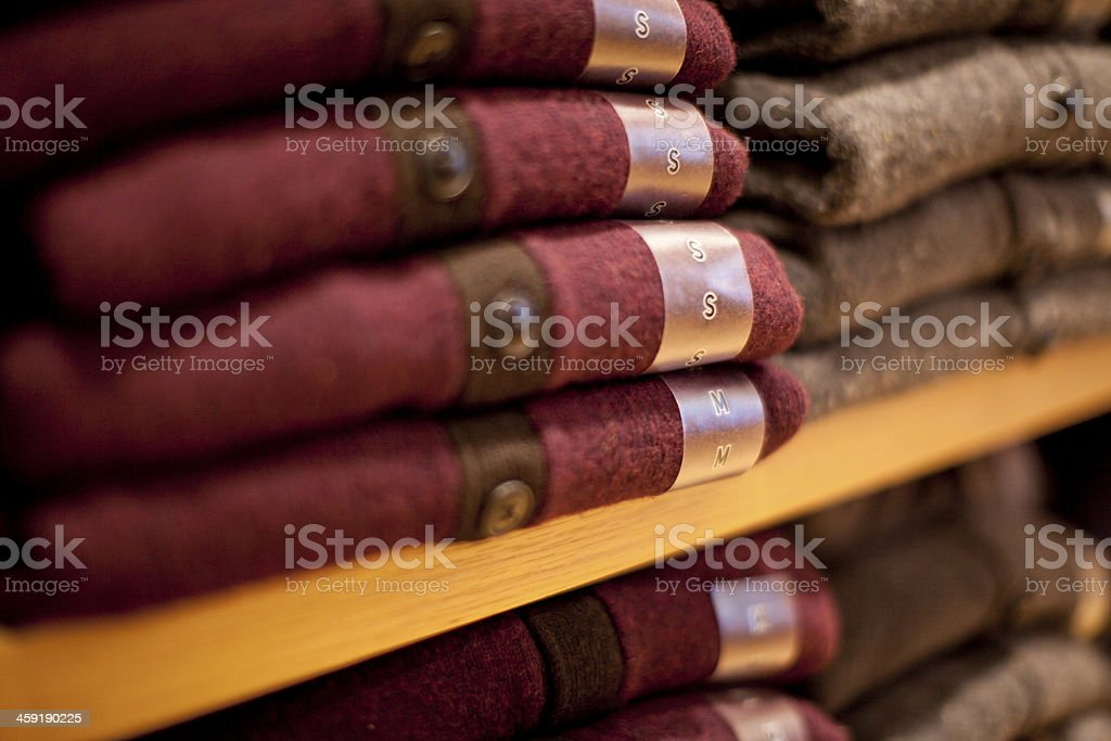 Sizes of Sweaters stock photo