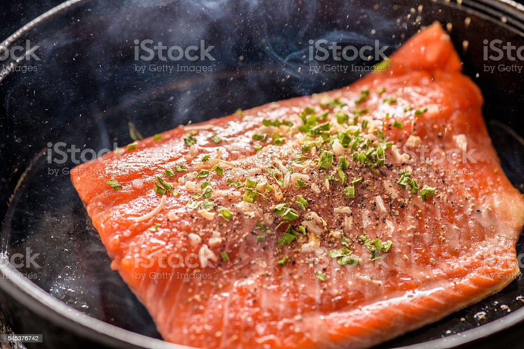 Sizzling Salmon stock photo