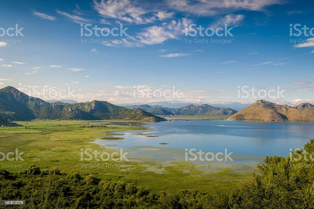 Skadar lake and mountains stock photo