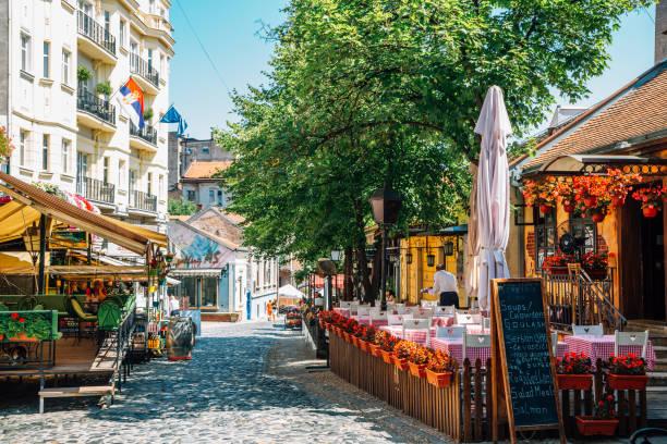 Skadarlija bohemian quarter, cafe and restaurant street at summer in Belgrade, Serbia stock photo