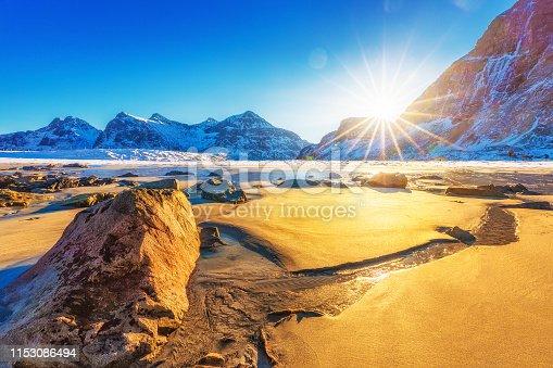 Skagsanden beach, amazing natural landscape on Lofoten Islands Archipelago. Skagsanden beach is popular spot for arctic surfing. Norway, Scandinavia, Europe. Lofotens is famous natural wonder.