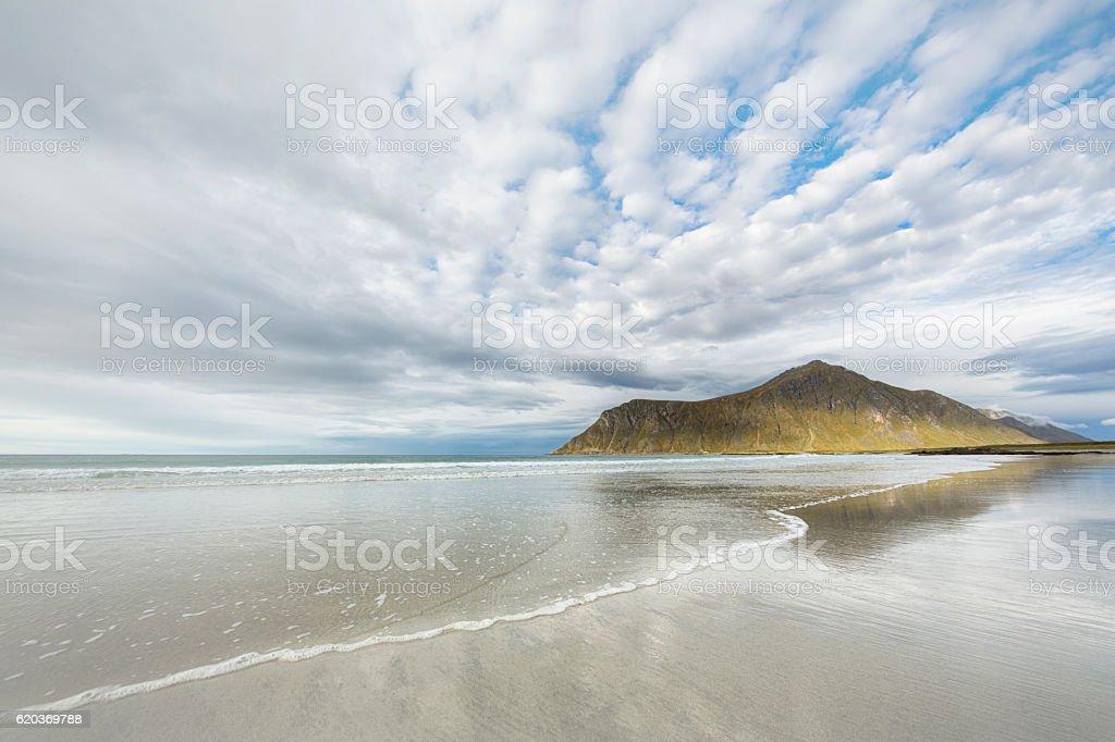 Skagsanden Beach in Lofoten, Norway zbiór zdjęć royalty-free