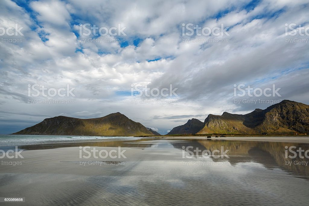 Skagsanden Beach in Lofoten, Norway foto de stock royalty-free