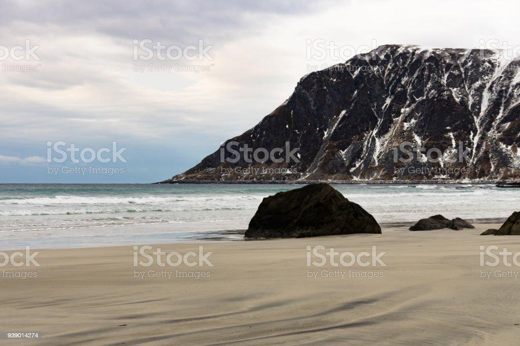 Skagsanden Beach Lofoten, Norveç stok fotoğrafı