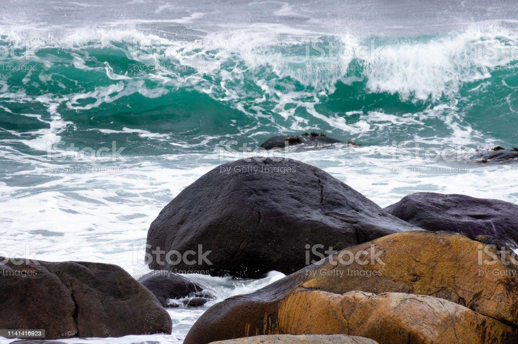 Kışın Skagsanden Plajı stok fotoğrafı