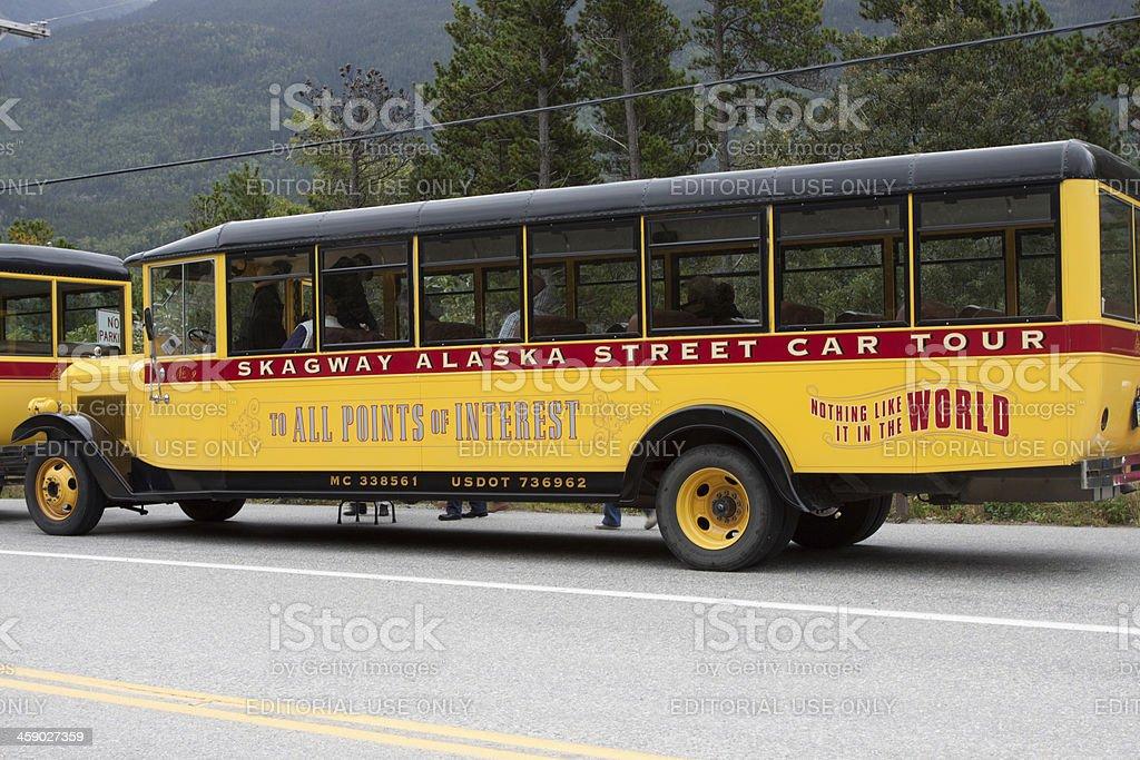 Skagway Alaska Tour Bus royalty-free stock photo