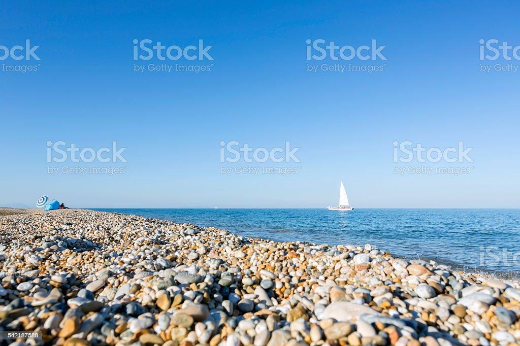 Skala beach in Kefalonia (Ionian Islands) at sunset stock photo