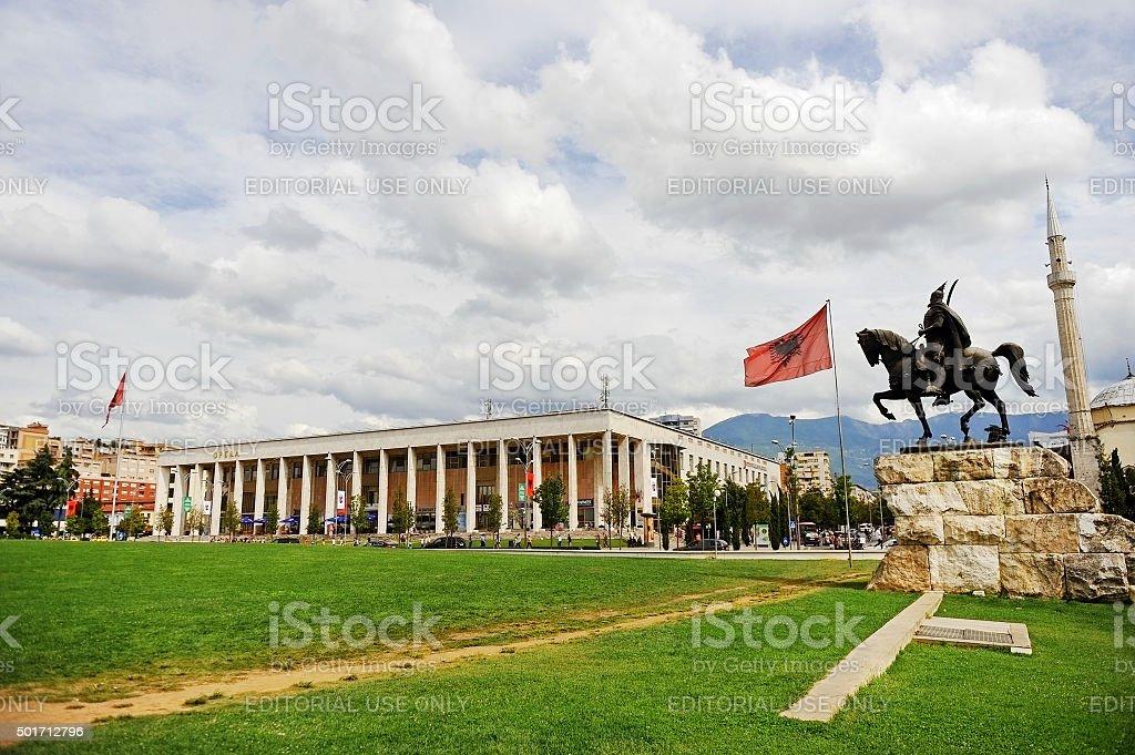 Skanderbeg square in Tirana stock photo