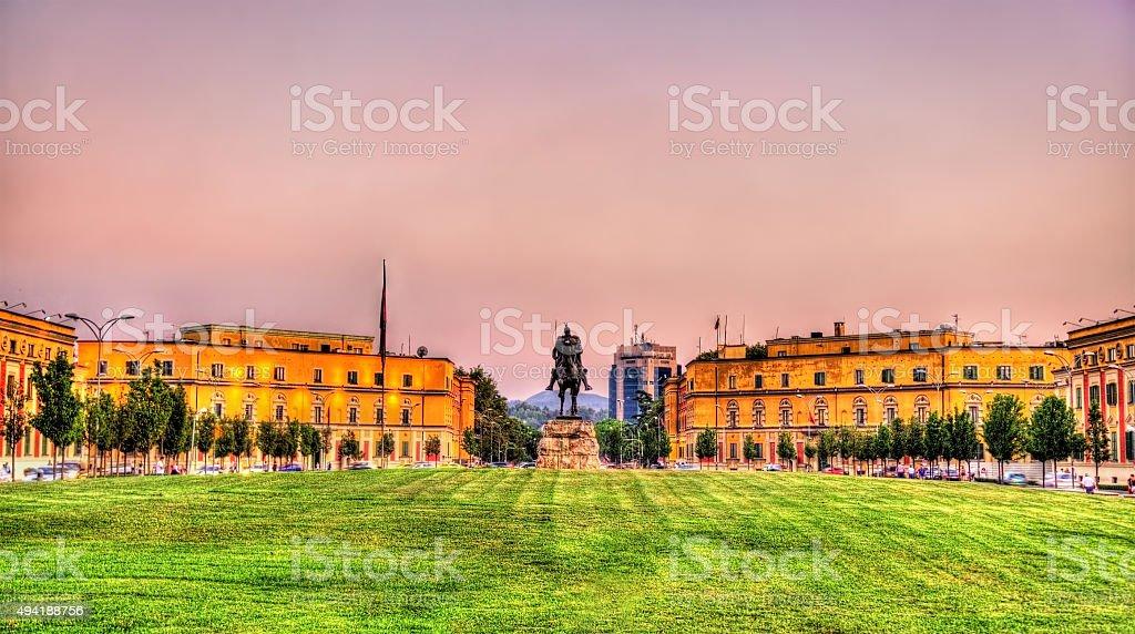 Skanderbeg Square with his statue in Tirana - Albania stock photo
