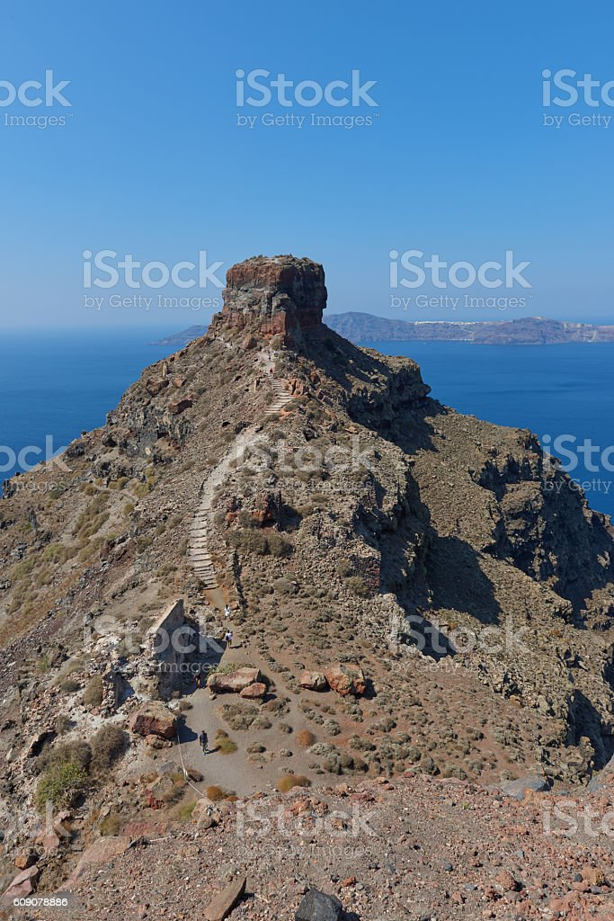Skaros rock at Imerovigli , Santorini stock photo
