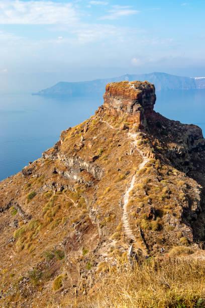 Skaros Rock in aegean Sea stock photo