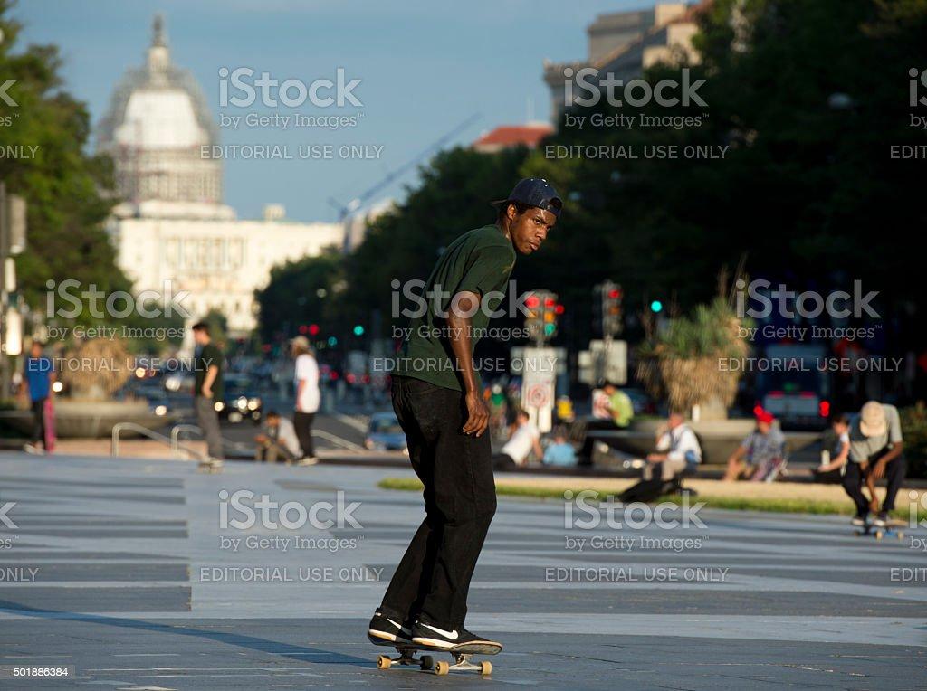 Skate border in Washington, DC stock photo