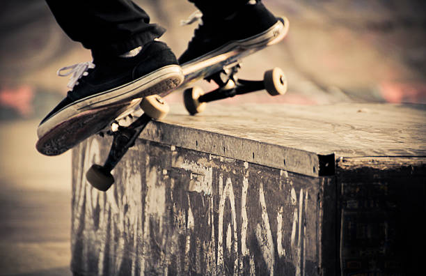 Skate grind trick stock photo