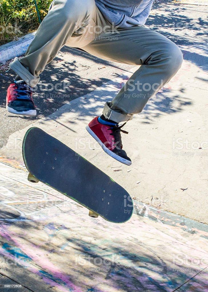 skate kickflip stock photo