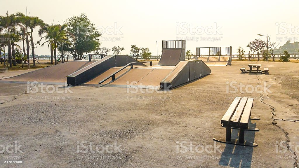 Skate Park in the daytime. Customizable dark tones . stock photo