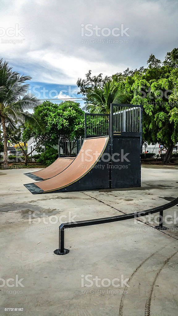 Skate Park in the daytime. Customizable dark tones . stock photo