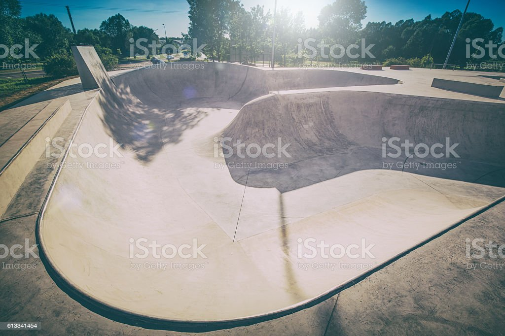 Skate Park in the daytime. Urban design concrete skatepark. stock photo