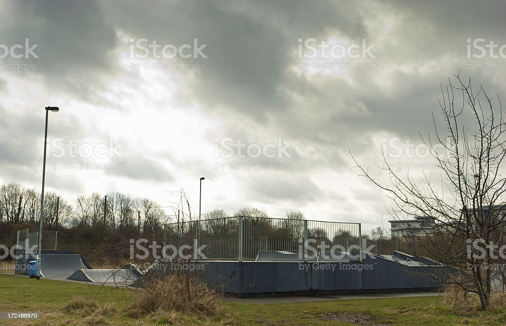 Skate park in the rain royalty-free stock photo