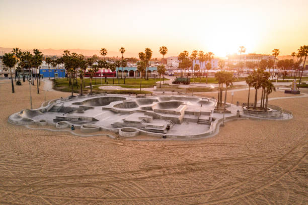 Skate Park in Venice Beach Aerial view of empty pools in skate park on Venice Beach, California. venice beach stock pictures, royalty-free photos & images