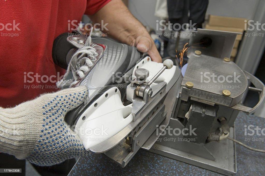 Skate sharpening stock photo