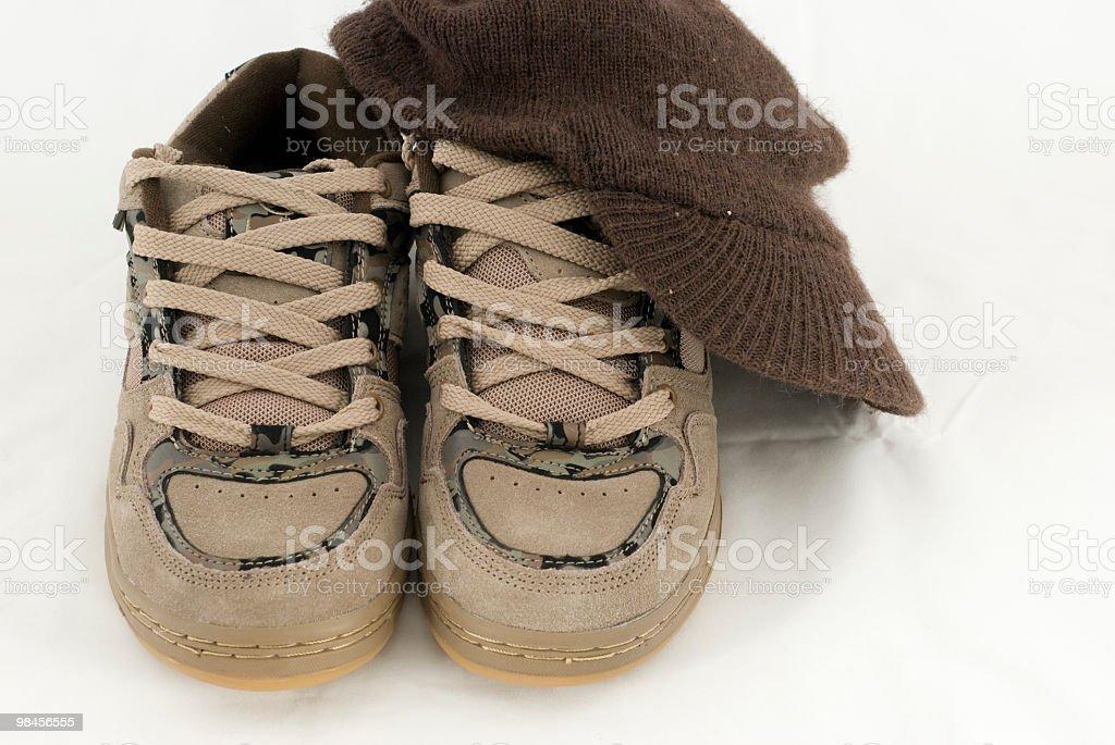 Skate scarpe, cappello foto stock royalty-free