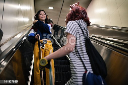 Low angle view of two Multi-ethnic attractive woman on an escalator with skateboards