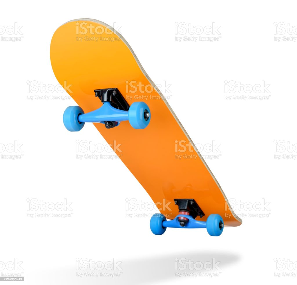 Skateboard deck on white background, isolated path included stock photo