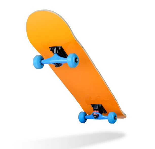skateboard deck on white background, isolated path included - skateboarding stock pictures, royalty-free photos & images