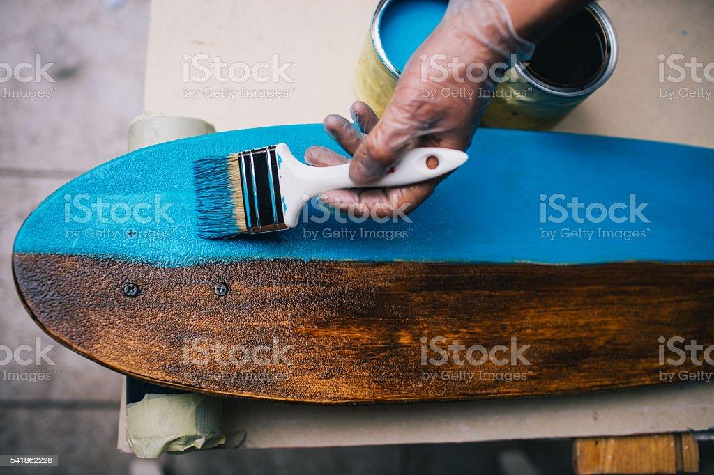 Skateboard designing in progress stock photo