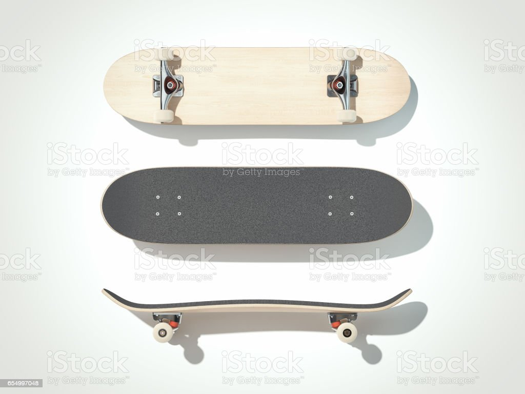 Skateboard isolated on a white background. 3d render stock photo