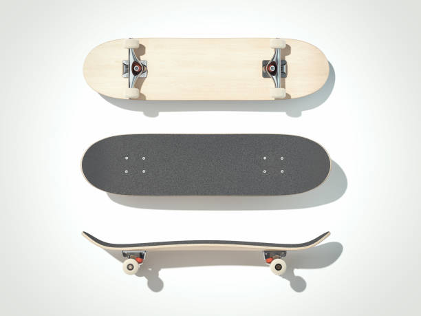 skateboard isolated on a white background. 3d render - skateboarding stock pictures, royalty-free photos & images