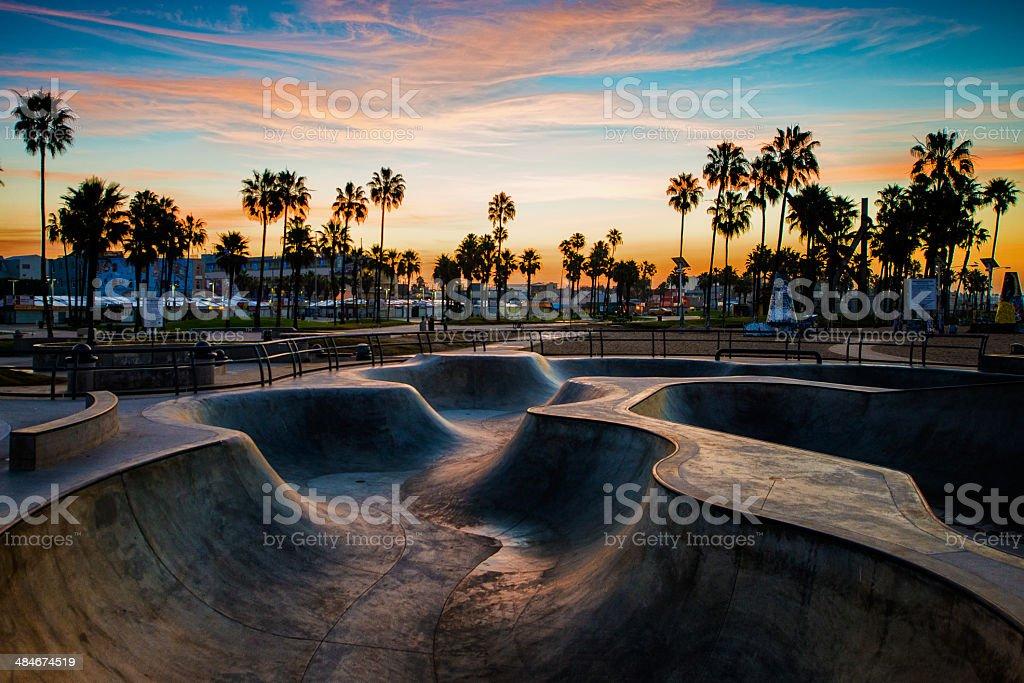 Skateboard park in the morning stock photo