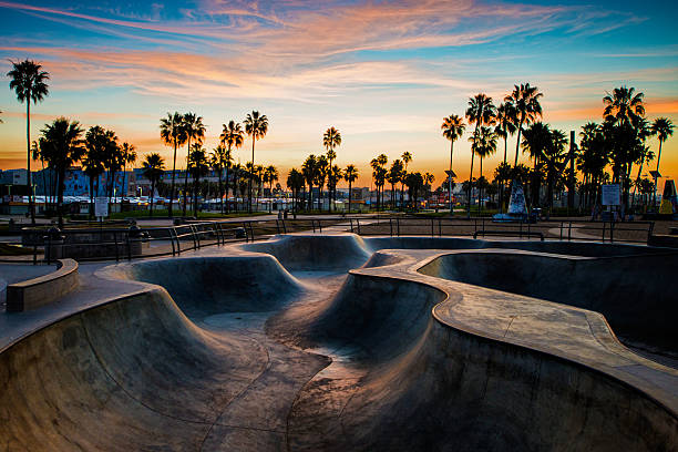 Skateboard park in the morning Venice Beach skate park, Los Angeles, CA. venice beach stock pictures, royalty-free photos & images